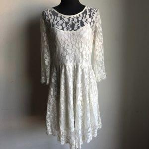 Free People sz L lace boho midi dress
